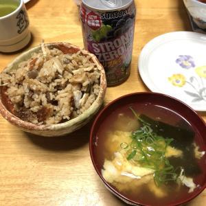 炊き込みご飯、肉じゃが、ほうれん草のおひたし、ワカサギの天ぷら
