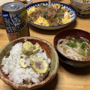 栗ご飯、白菜と豚肉の煮物、ピーマンと竹輪の煮物