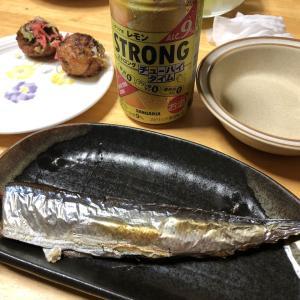 秋刀魚の塩焼き、たこ焼き、焼き茄子