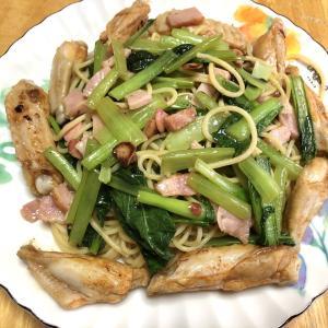 手羽中と小松菜のペペロンチーノ、しめ鯖、鯉の子付け、なめ茸