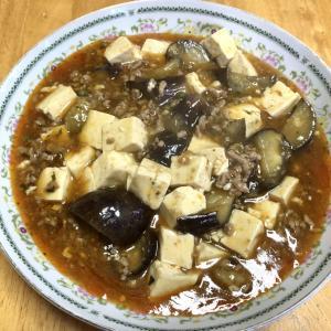麻婆茄子、焼き餃子、中華スープ