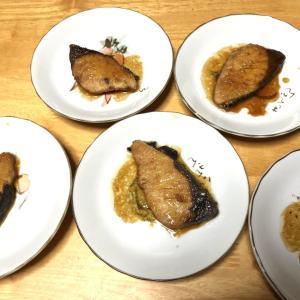 ぶりの照焼、かぼちゃの甘煮、白菜と豚肉の煮物