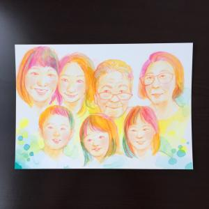 ご家族の似顔絵を描かせていただきました。