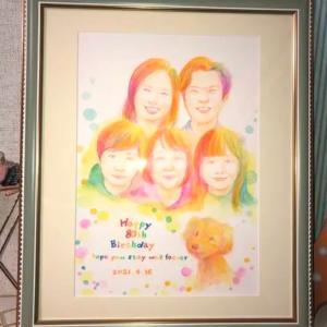 似顔絵のプレゼント…今まででNo. 1の喜び様です〜嬉しいレビューを投稿していただきました!