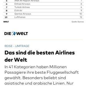 人気の航空会社ベスト10に欧州系は2つなの?