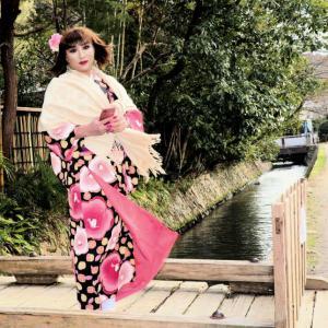 宮崎留美子の、和服で街歩き