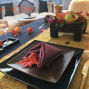 リメイクテーブル3*秋冬2回目レッスン2019年11月…秋色フラワー再利用・花魁テーブル