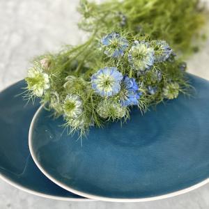 アイテムチャレンジ23−①(ブルー陶器皿とニゲラ)