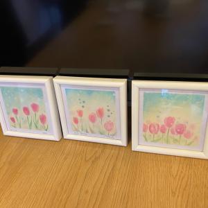 パステル和アート春の風とチューリップを描きました花びらの重ねかたでチューリップの表...
