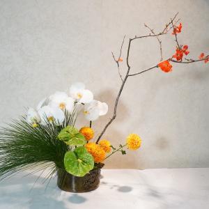 小学生5年生の芸術的なお花の作品、お正月花