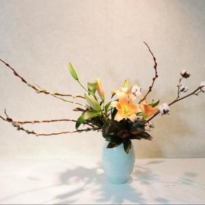 綿の木と豪華なユリを青磁の器に(クリスマス花)