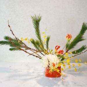 曲線がカワイイお正月花(若松をためてカーブを作って)