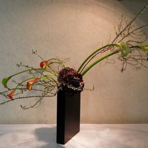 カラーの茎がきれいな曲線なので鉄花器に伸び伸びといける