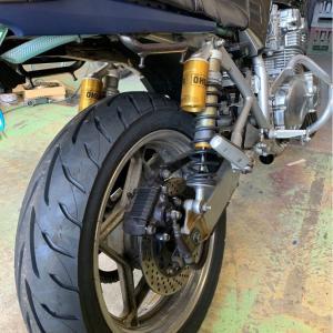 刀400  タイヤ交換  ハンドル調整