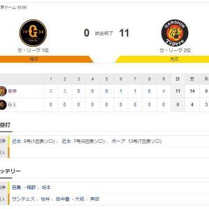 巨人 0-11 阪神 試合結果 東京ドーム 2020/9/17