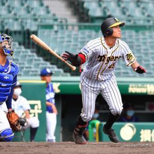阪神2軍遠藤、甲子園で初打点 フェンス直撃V打