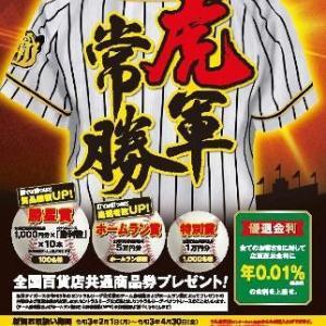 定期預金「虎軍常勝」登場 阪神タイガースの勝利数に応じて抽選で商品券が当たる 最高79万円分