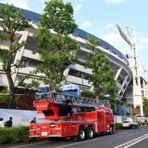 ハマスタ場外で火災 阪神選手も一時避難 消防車とパトカーも駆けつけた