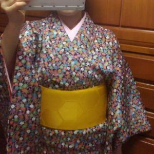 [着物コーデ]オータム 40年以上前の紫の化繊着物コーデ