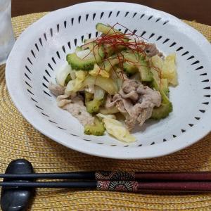 豚とゴーヤのピリ辛炒めで晩酌