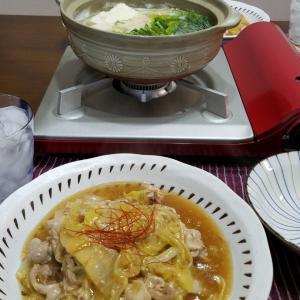 白菜と豚肉炒めで晩酌