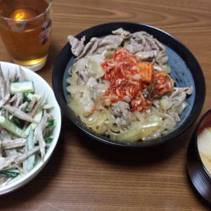 晩御飯、豚の生姜焼き丼・ゴボウサラダ・大根の味噌汁