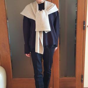 新発想の防寒具|ノーカラーの服をイメチェンするフード付きマフラー