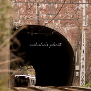 古びたトンネルと新しいでんしゃ