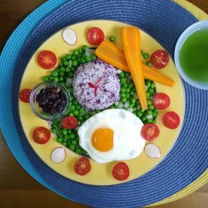 【M's和ごはん】紫蘇ご飯とグリンピースの煮物と野菜もり