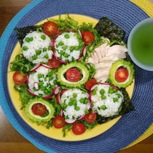 【M's和ごはん】グリンピースの混ぜご飯と蒸し鶏と野菜もり