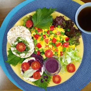 グルテンフリー和ごはん・グルテンフリーオープンサンド  野菜ゴロゴロスクランブルエッグのせ