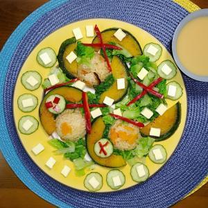 グルテンフリー和ごはん・人参の炊き込みご飯と焼きカボチャと野菜もり