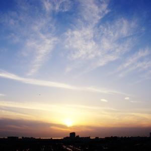 毛状雲(巻層雲)と飛行機雲