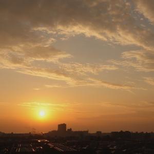 夕暮れ時の積雲