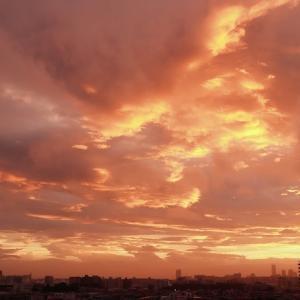 雨上がりの夕焼雲