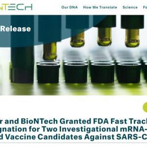 BioNTechワクチン、ファストトラックに乗る