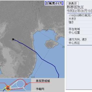 台風11号は熱帯低気圧に