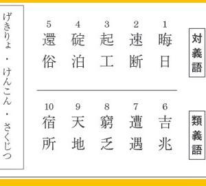 漢字検定準1級 対義語類義語
