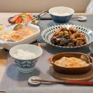 タラモグラタンと鶏肉と茄の甘辛照り煮とトウモロコシの簡単なレンチン方法