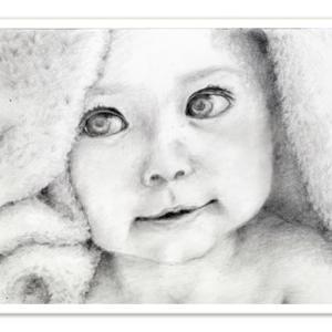 赤ちゃんのデッサン 鉛筆画