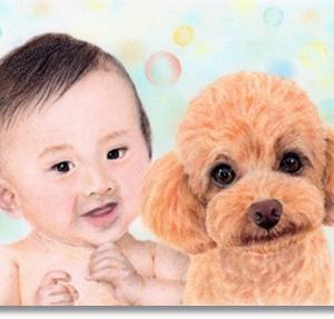 赤ちゃんとトイプードル パステルで描くペット・人物肖像画