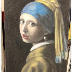 真珠の耳飾りの少女 フェルメール模写 パステル画