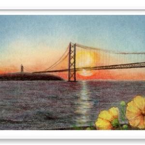 秋の明石海峡大橋  風景 パステル画