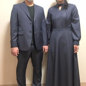 結婚式のスーツとロングワンピースをお揃い生地でオーダー!大阪受注会開催(10/16-18)東京(9/9-13・23-27)名古屋(9/1-9・13-23・27-30)