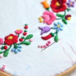 カロチャ刺繍の猫の襟その2