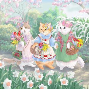 新作猫イラスト、春の花娘たち