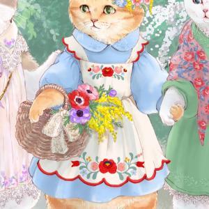 春の猫イラストその2