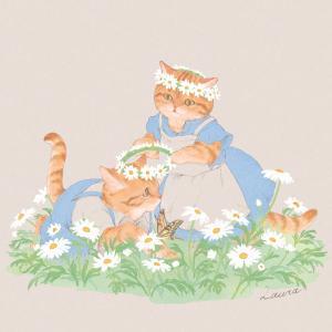 【イラスト】花畑の猫たち