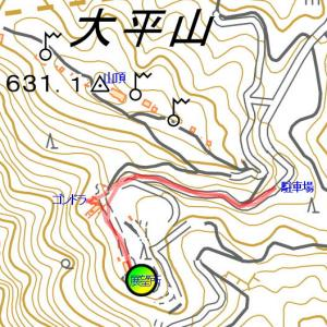 大平山山頂公園で気持ちよい空気を吸う