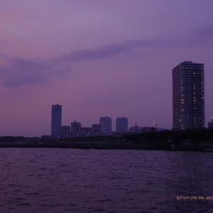 紫色がかった夕空